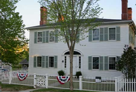 The Jeremiah Thorndike Holt House, home to the Blue Hill Historical Society